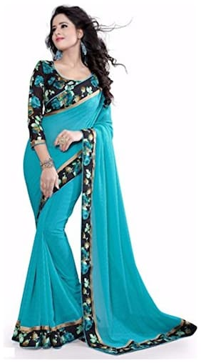 Georgette Chanderi Lace work Saree - Blue , With blouse