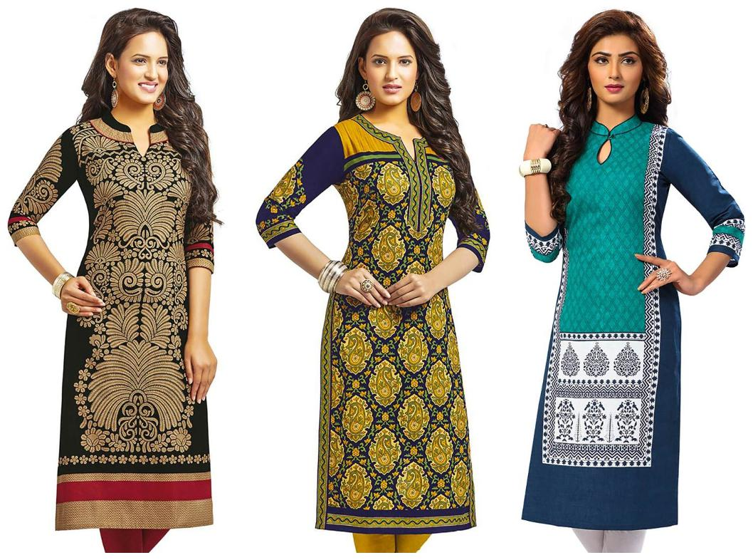 Jevi Prints   Pack of 3 Unstitched Women's Cotton Printed Kurti Fabrics  Fabrics Only for Top  by Jevi Prints