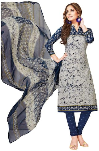 Jevi Prints Women's Unstitched Synthetic Crepe Grey & Blue Abstract Printed Salwar Suit Dupatta Material