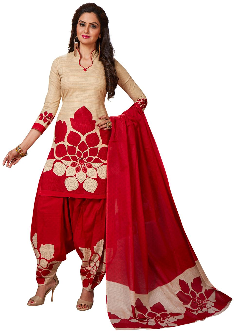 Jevi Prints Women's Synthetic Crepe Beige   Red Floral Printed Salwar Suit Dupatta Material by Jevi Prints