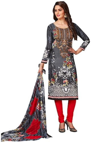 Jevi Prints Women's Synthetic Crepe Black & Red Floral Printed Salwar Suit Dupatta Material