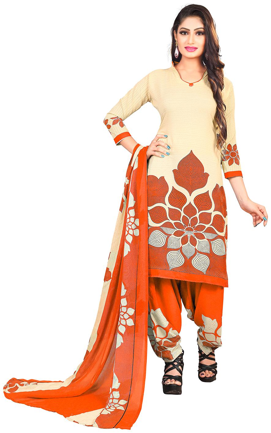 Jevi Prints Women's Synthetic Crepe Beige   Orange Floral Printed Salwar Suit Dupatta Material by Jevi Prints