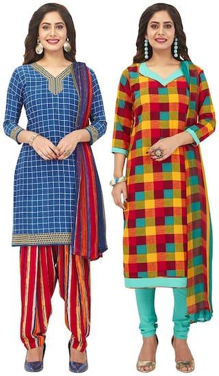 Jevi Prints Multi Unstitched Kurta with bottom & dupatta With dupatta Dress Material