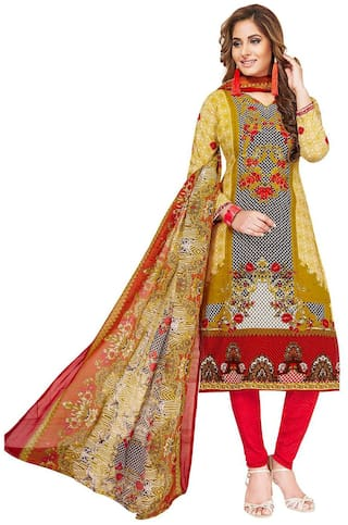 Jevi Prints Women's Unstitched Synthetic Crepe Multicolor & Red Block Printed Salwar Suit Dupatta Material