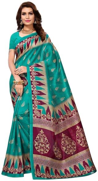 Jevi Prints Women's Bhagalpuri Art Silk Rama Green Ethnic Print Saree with Blouse Piece