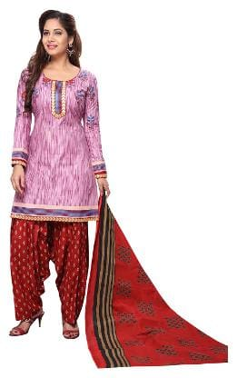 Jevi Prints Women's Unstitched Cotton Lavender & Red Self Printed Patiyala Suit with Mangalgiri Border
