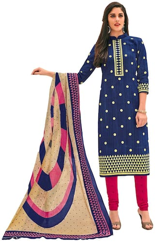 Jevi Prints Womens Pure Cotton Blue & Pink Polka Print Dress Material