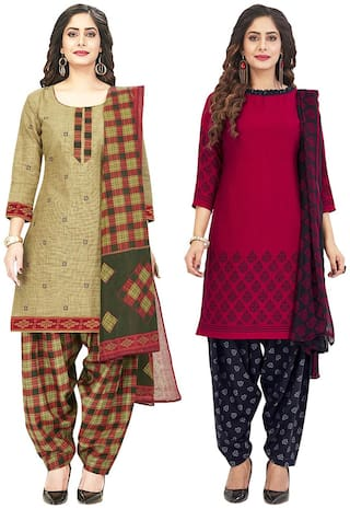 Jevi Prints Multi Unstitched Kurta with bottom & dupatta With dupatta Dress Material
