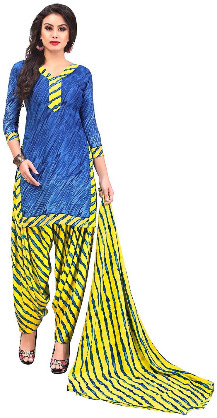 Jevi Prints Women's Synthetic Crepe Blue   Yellow Lehariya Printed Salwar Suit Dupatta Material by Jevi Prints