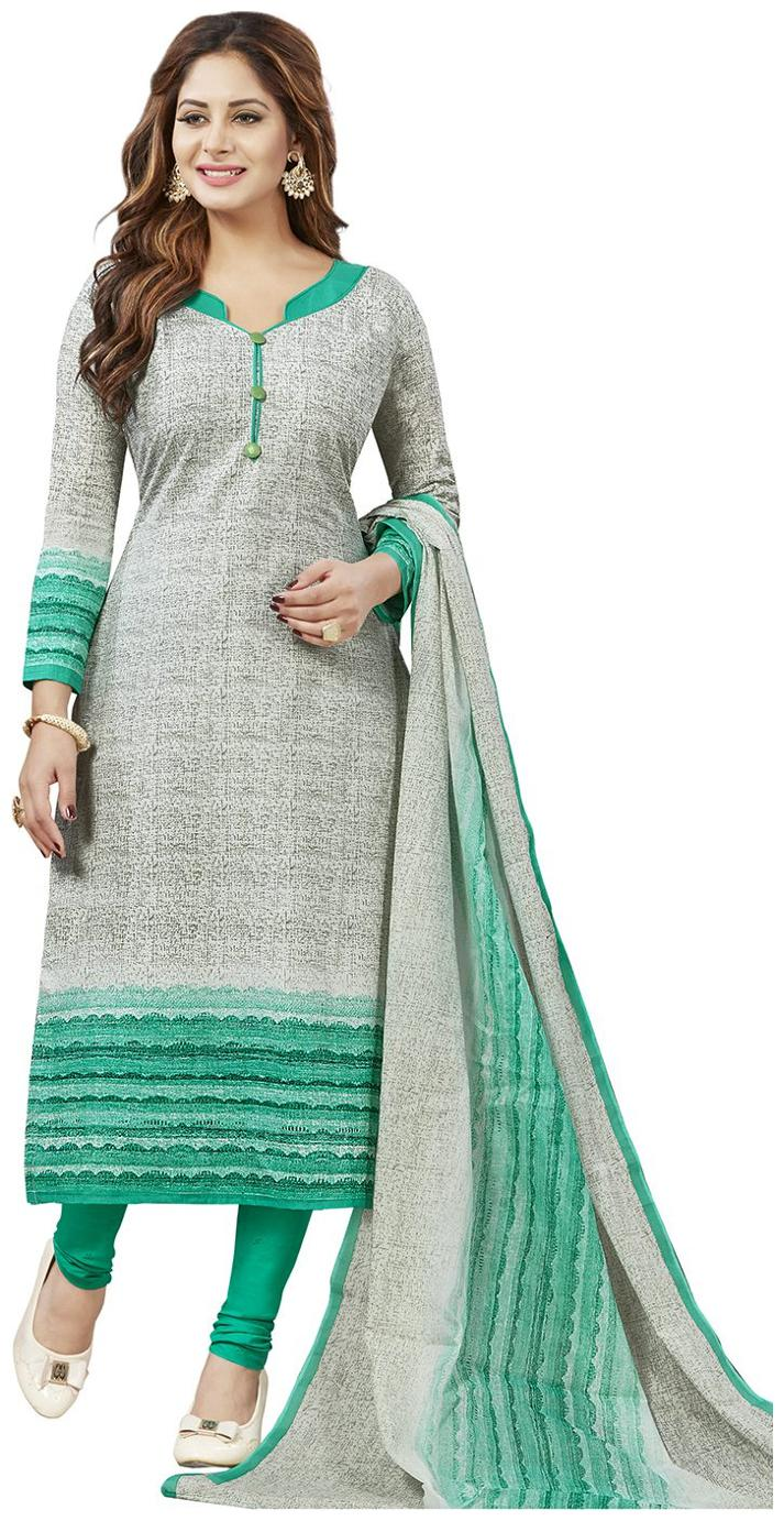 Jevi Prints Women\'s Unstitched Pure Cotton Grey   Green Self Printed Salwar Suit Dupatta Material by Jevi Prints