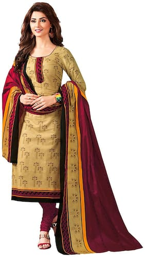 Jevi Prints Women's Unstitched Cotton Beige & Maroon Geometric Printed Unstitched Punjabi Suit Dupatta