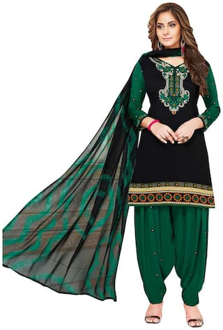 Jevi Prints Women's Unstitched Synthetic Crepe Black & Green Solid Printed Salwar Suit Dupatta Material