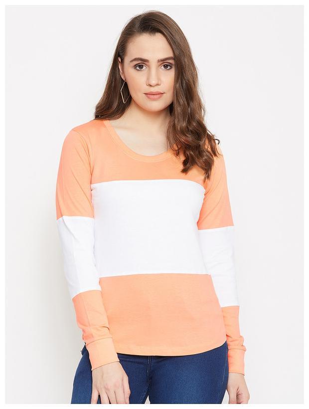 Jhankhi Women Orange & White Regular fit Round neck Cotton T shirt