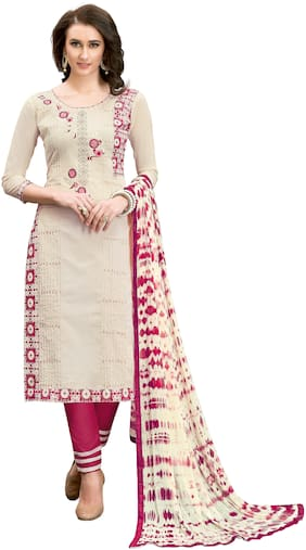 JHEENU Cream Unstitched Kurta with bottom & dupatta With dupatta Dress Material