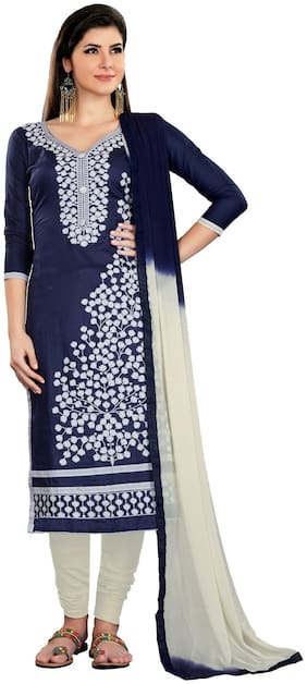 JHEENU Blue & White Unstitched Kurta with bottom & dupatta With dupatta Dress Material