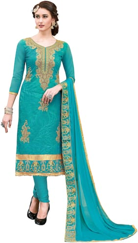 JHEENU Turquoise Unstitched Kurta with bottom & dupatta With dupatta Dress Material