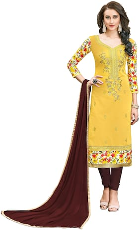 JHEENU Yellow Unstitched Kurta with bottom & dupatta With dupatta Dress Material
