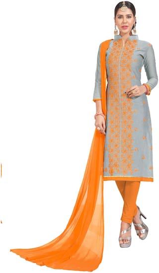 JHEENU Grey Unstitched Kurta with bottom & dupatta With dupatta Dress Material