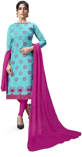 JHEENU Chanderi Embroidered Turquoise Kurta,Bottom & Dupatta