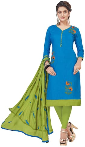 JHEENU Cotton Embroidered Blue Kurta,Bottom & Dupatta