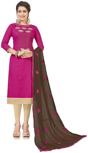 JHEENU Cotton Embroidered Pink Kurta,Bottom & Dupatta
