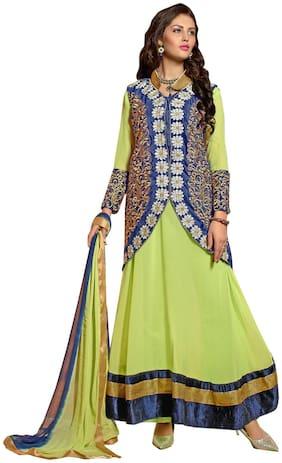 JHEENU Georgette Anarkali Unstitched Dress Material (Multi)