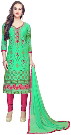 JHEENU Green Unstitched Kurta with bottom & dupatta With dupatta Dress Material