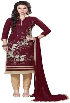 JHEENU Brown Unstitched Kurta with bottom & dupatta With dupatta Dress Material
