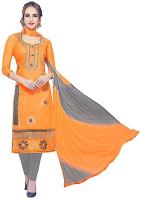 JHEENU Orange Unstitched Kurta with bottom & dupatta With dupatta Dress Material