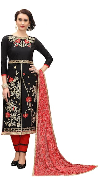 JHEENU Black Unstitched Kurta with bottom & dupatta With dupatta Dress Material