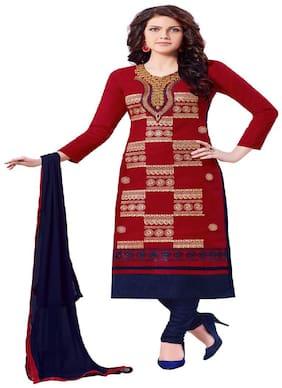 JHEENU Red Unstitched Kurta with bottom & dupatta With dupatta Dress Material