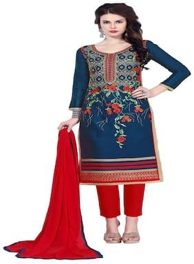 JHEENU Blue Unstitched Kurta with bottom & dupatta With dupatta Dress Material