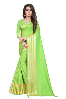 JHEENU Green Solid Banarasi Designer Saree With Blouse , With blouse