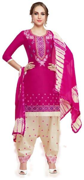 JHEENU Pink Unstitched Kurta with bottom & dupatta With dupatta Dress Material