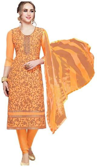 JHEENU Orange Unstitched Kurta with bottom & dupatta With dupatta Dress Material