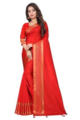 JHEENU Red Solid Banarasi Designer Saree With Blouse , With blouse