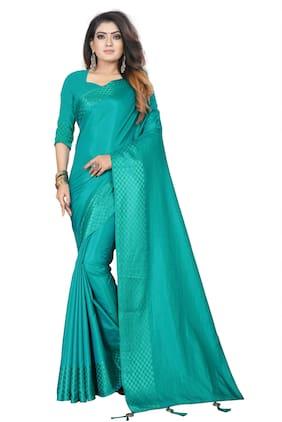 JHEENU Turquoise Solid Banarasi Designer Saree With Blouse , With blouse