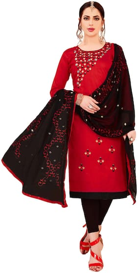 JHEENU Woman Embroidered  Cotton Unstitched straight Dress Materials Red;Black