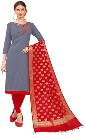 JHEENU Woman Cotton Unstitched straight Dress Materials Grey and Red color