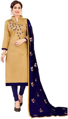 JHEENU Woman Embroidered  Cotton Unstitched straight Dress Materials Beige;Blue