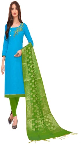 JHEENU Woman Cotton Unstitched straight Dress Materials Turquoise and Green  color