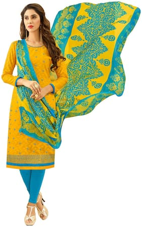 JHEENU Yellow & Turquoise Unstitched Kurta with bottom & dupatta With dupatta Dress Material