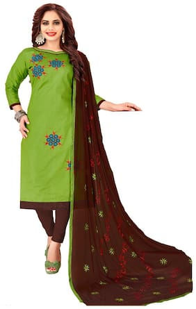 JHEENU Woman Embroidered  Cotton Unstitched straight Dress Materials Green;Brown