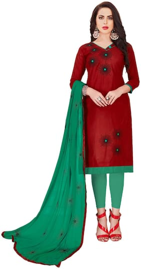 JHEENU Woman Embroidered  Cotton Unstitched straight Dress Materials Maroon;Green
