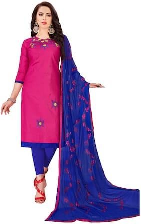 JHEENU Woman Embroidered  Cotton Unstitched straight Dress Materials Pink;Blue