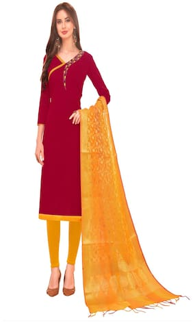 JHEENU Woman Cotton Unstitched straight Dress Materials Maroon and Yellow color