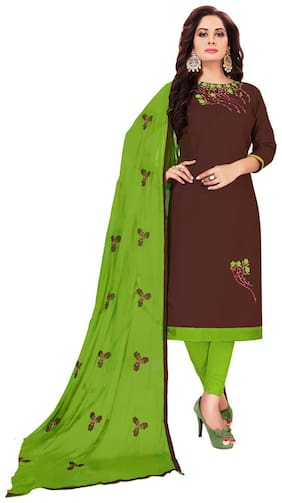 JHEENU Woman Embroidered  Cotton Unstitched straight Dress Materials Brown;Green