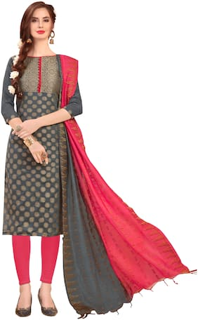 Jheenu Women's Grey Banarasi Jacquard Unstitched Dress Materials