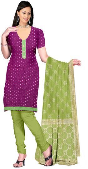Jheenu Women'S Purple And Green Cotton Unstitched Dress Materials