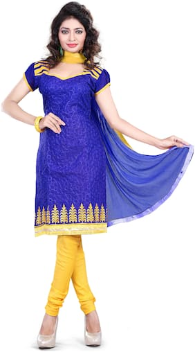 Jheenu Womens Synthetic Unstitched Dress Materials (SHB01;Blue)